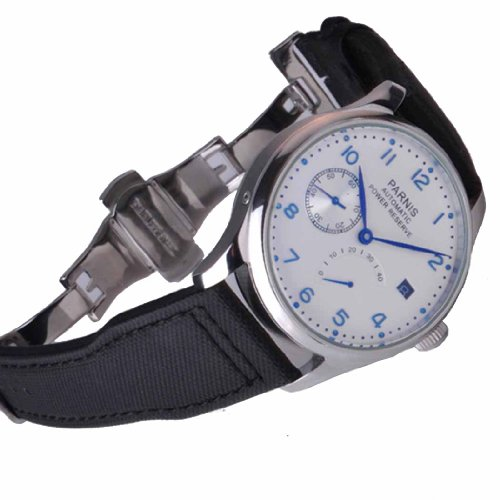 Fanmis 43mm White Dial Blue Pointer Power Reserve Automatic Movt Deployant Buckle Men's Women's Watch