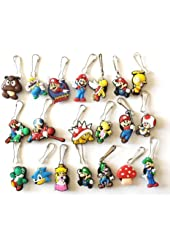 20 pcs Super Mario Brothers # 4 Zipper Pull Charms for Jacket Backpack Bag Pendant