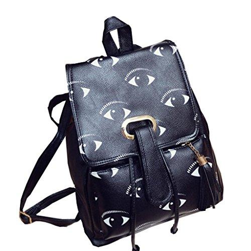 Koly_Ragazze in pelle sacchetto di scuola di viaggio backpack la cartella stampa Zaino (F)