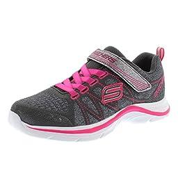 Skechers Kids Swift Kicks Running Shoe, Charchaol/Neon Pink,13 M US Little Kid