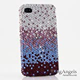Swarovski Luxury Crystal Bling Case Cover for iphone 4 / 4s Silver faded to Purple 100% Handcrafted by BlingAngels with Carry Pink Pouch
