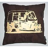 Which Kraft Leather Rickshaw Cushion Cover- Brown, 40.64 Cm X 40.64 Cm