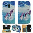 Dancing Dolphins Samsung Galaxy S3 S III Mini I8190 At&t G730v Verizon Leather Wallet Flip Case Cover with Card Holder