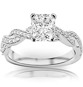 0.98 Carat Radiant Cut / Shape 14K White Gold Vintage Eternity Love Twisting Split Shank Diamond Engagement Ring ( F-G Color , SI2 Clarity )