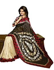 Divyaemporio Silk Self Print Saree (De-7331 _Black)