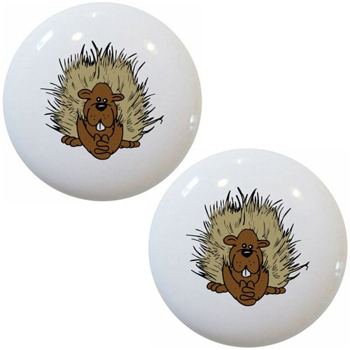 Set of 2 Porcupine Animal Ceramic Cabinet Drawer Pull Knobs