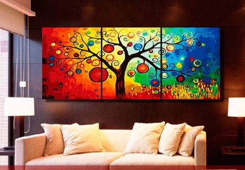 MODERN ABSTRACT WALL ART PAINTING ON CANVAS NEW Style ! (NO FRAME)The colorful tree