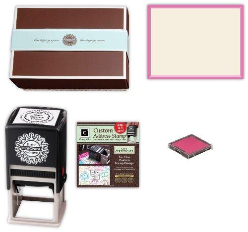 Three Designing Women Basket Design Stamp Gift Set, Ecru Pink front-336310