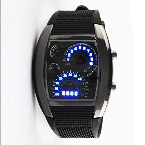 Sotijobs Cool Rpm Turbo Flash Digital Led Sports Watch Gift Car Meter Dial For Men (Black)