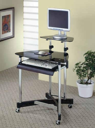 Buy Low Price Comfortable Modern Computer Workstation Desk With Casters, Black Glass Top, Pullout Tray In Chrome/Black Finish. (Item# Vista Furniture CF800245) (B004YMWJIQ)