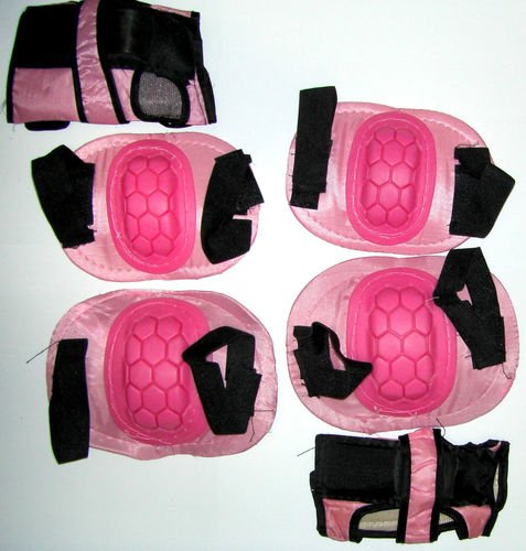 Skating BMX bike cycling kids Junior knees wrist elbow safety pads pink