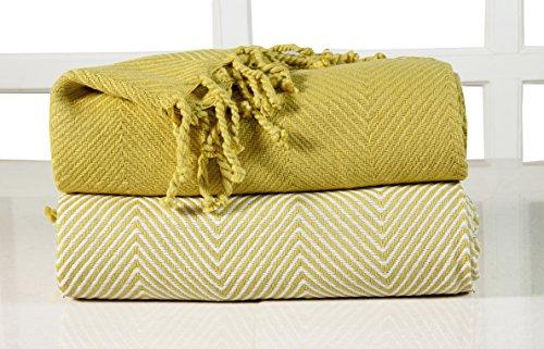 ehc-tagesdecke-luxus-chevron-baumwolle-single-sofa-uberwurf-decke-gelb-2-stuck-125-x-150-cm