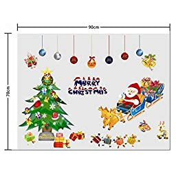 Afoxsos Snowflake Snowman Colorful Wall Decals Window Stickers Christmas Party