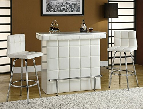 Ronni collection white tufted vinyl front bar table with glass top and chrome accents and footrest