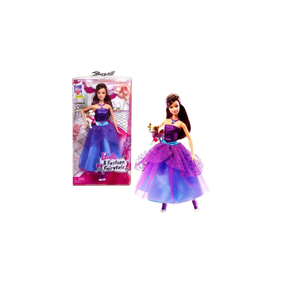 Mattel Year 2009 Barbie A Fashion Fairytale DVD Series 12 Inch Doll  Marie Alecia with Purple Color Party Dress, Necklace, Sunglass, High Heel Shoes and Pet Dog (T5219)