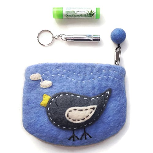 Best Unusual Quirky Teenage Stocking Stuffer Gift Safety Whistle for Women Girls Teens Gift Set with Trendy Owl Dragonfly Twitter Bird Boiled Wool Cute Zip Coin Purse & Lip Balm Makes the Best Stocking Stuffer Gift Idea for Teens Women & Girls (Blue Twitter Gift Set)