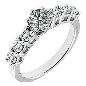 1.18 Carat G-H SI2-SI3 Diamond Engagement Wedding Anniversary Halo Bridal Ring Set 14K White Gold