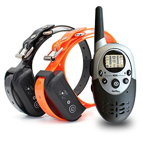 PetSpy 1100 Yard Waterproof Rechargeable Remote Training Dog Collar with Beep, Vibration and Electric Shock for 2 Dogs (Dog Training Collars For 2 Dogs compare prices)