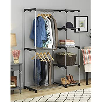 Whitmor 6779-3044 Double Rod Freestanding Closet with Steel and Resin Frame, 45.2 by 68-Inch, Silver