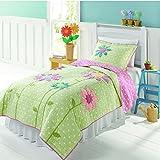 Casofu® Cute Girls Patchwork Quilt Set,Quilted Bedspreads,Kids Sunflower Comforter Bedding Set,Twin/Full