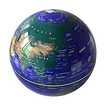 Senders 6Inch Floating Globe with LED Lights Magnetic Levitation Floating Globe World Map for Desk Decoration (Blue,6Inch)