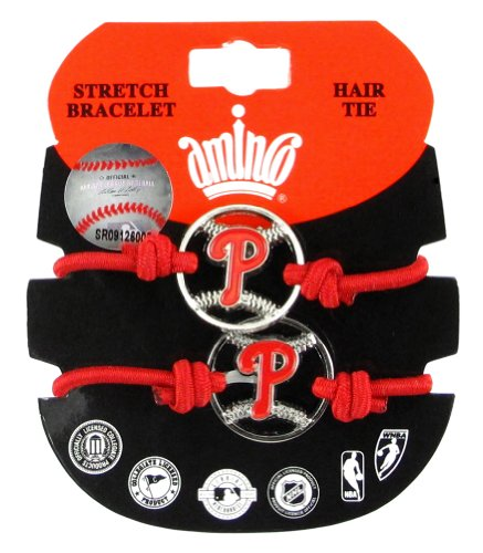 MLB Philadelphia Phillies Stretch Bracelet/Hair Tie Set at Amazon.com