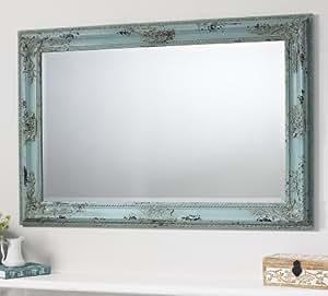 Kingsley Large Vintage Teal Blue Rectangle Wall Mirror