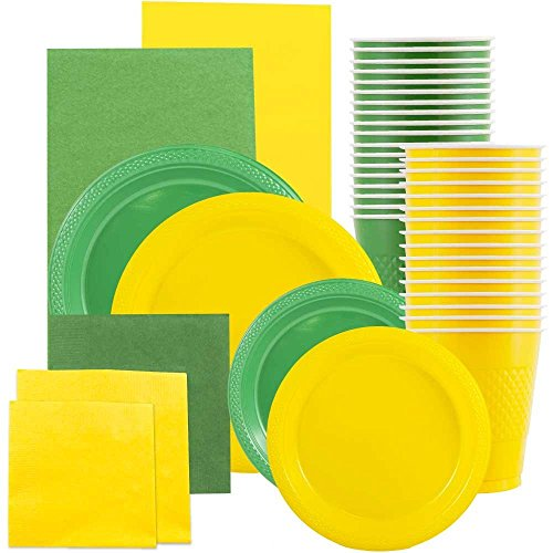 JAM Paper Party Supply Assortment - Yellow & Green Grad Pack - Plates (2 Sizes), Napkins (2 Sizes) , Cups & Tablecloths - 12/pack