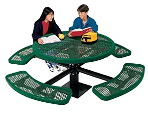 Ultra Play Outdoor Round Table With Surface Mount Leg And Perforated Pattern by Ultra Play