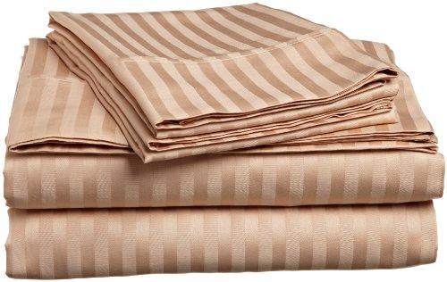 Impressions Genuine Egyptian Cotton 300 Thread Count California King 4-Piece Sheet Set Stripe, Beige