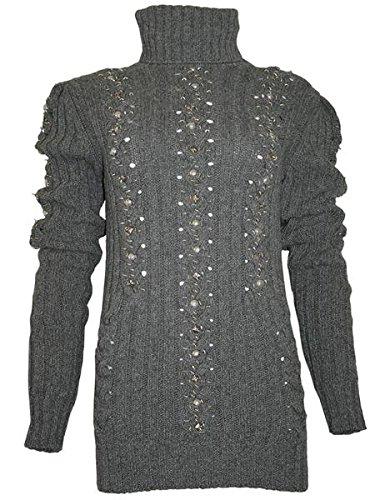 PHILIPP-PLEIN-Femme-Designer-Laine-Pullover-BLACK-PEARL