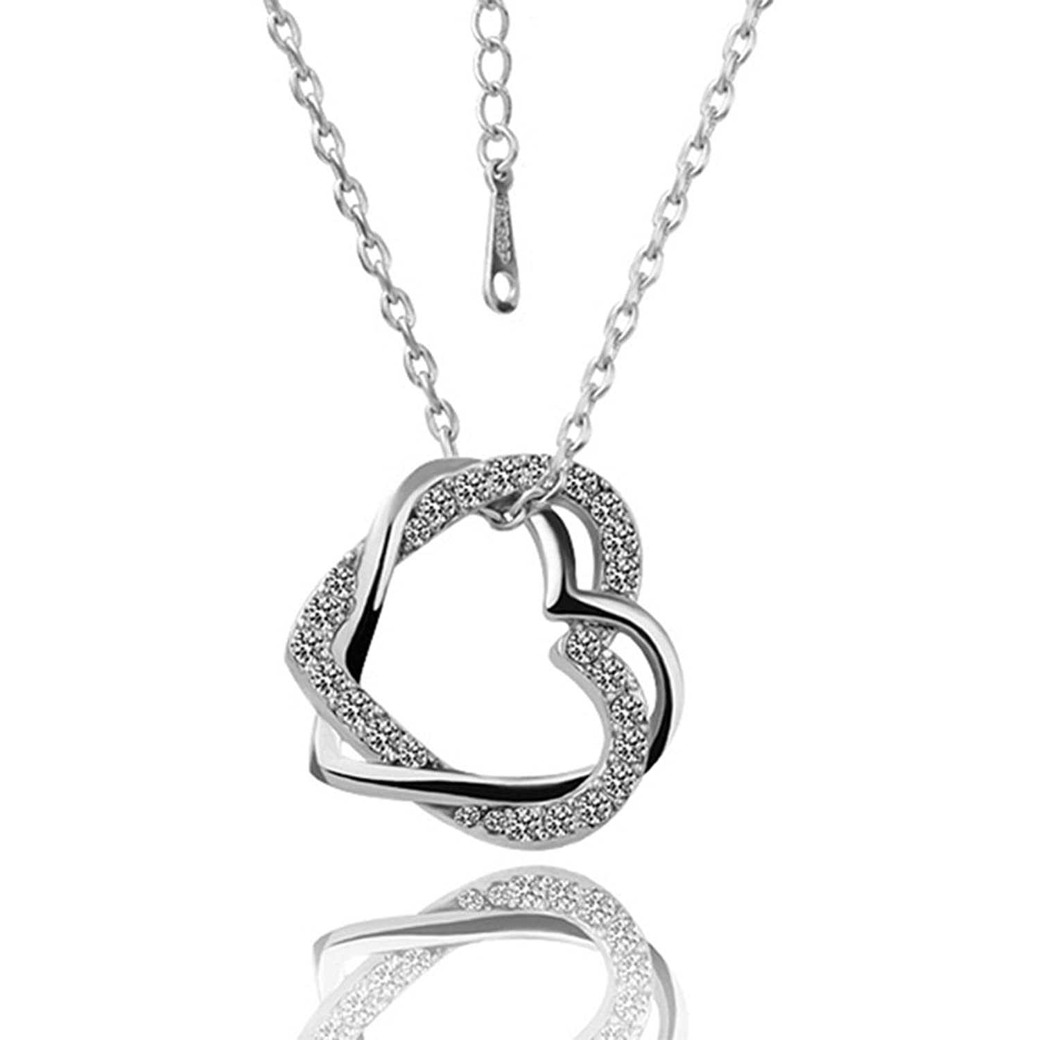 Lovav Party Prom 2016 New Women Czech Drill Dual Hearts Love Pendant Necklace