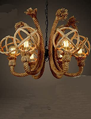 qiuxi High-end fashion Interior Ceiling lamp Vintage Iron Art Hemp Rope American Rural Bar Chandelier , warm white-110-120v