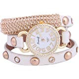 2013Newestseller Women Retro Mosaic Rivets Rhinestone Wrap Around Leatheroid Quartz Wrist Watch White