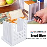 Bread slicer Yummy Sam® Foldable and Adjustable Bread Toast Slicer Bagel Slicer Loaf Sandwich Bread Slicer Toast Slice Cutter Mold with 4 Slice Thicknesses (white)-Big Discount 15-20% Money Off