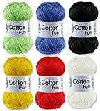 Gründl Cotton Fun Häkelgarn Schulgarn 100% Baumwolle SET 3 Bunt Mix 6 Stück 300 Gramm hergestellt von Gründl