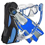 U.S. Divers Mens Lux LX Mask with Purge, Pivot Fins and Phoenix LX Snorkel Combo Set, Electric Blue, Large/X-Large