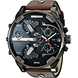 Diesel Men's DZ7314 The Daddies Series Stainless Steel Watch With Brown Leather Band