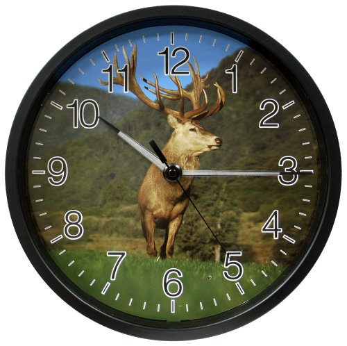 La Crosse Technology 403-312D 12 Inch Analog Clock With Lighted Hands - Extra Large Elk Design
