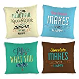 ShopMantra Happy Life Quotes Printed Cushion Cover Set Of 4 16*16 Inch Multicolor Cushion Cover