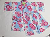 Japanese Yukata Jinbei Kids Kimono for the Summer season. This clothing comes in kids sizes from 125 to 135 cm. It is made from 100% pure cotton. It is available in Pink (Nadeshiko) and Light Blue color.