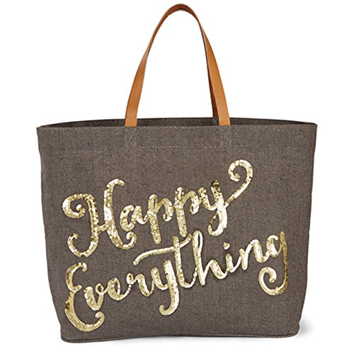 Mud Pie Happy Holidays Tote (Grey) (Mud Pie Leather Tote compare prices)