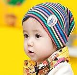 Susen Brand New Warming Rainbow Multi-colours Stripe Cotton Baby Cap Kids Woolen Hats (Blue)