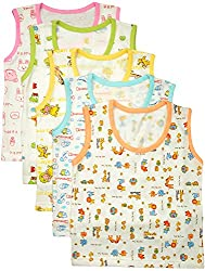 MYFAA Baby Boys' Cotton Regular Fit Vest - Combo of 5 (Multi-Coloured, 18-24 Months)