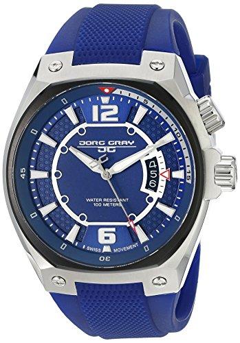 Jorg Gray JG8300-14 - Reloj analógico de cuarzo para hombre, correa de silicona color azul