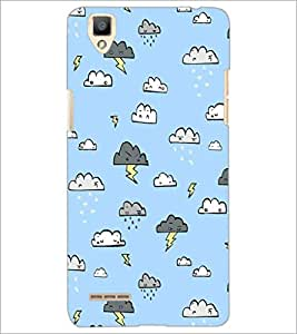PrintDhaba Cloud Pattern D-1442 Back Case Cover for OPPO F1 (Multi-Coloured)