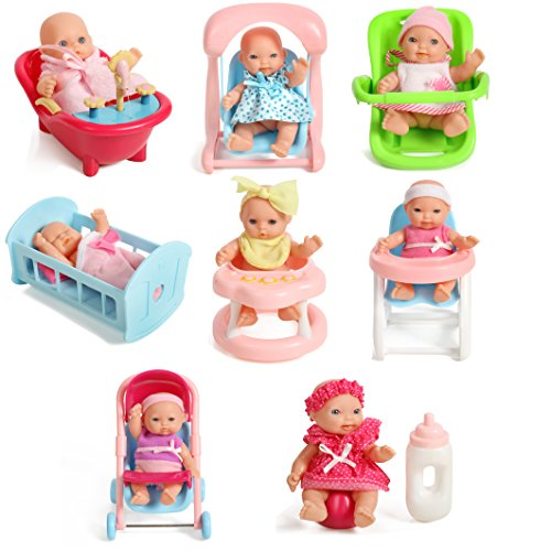 아기인형 장난감 Mommy & Me Doll Collection Set Of 8 Assorted 5 Mini Dolls, High Chair, Stroller, Crib, Car Seat, Bath, Potty, Swing,