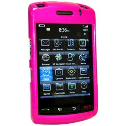 Amzer Polished Snap On Crystal Hard Case for BlackBerry Storm 9530, 9500 (Hot Pink)