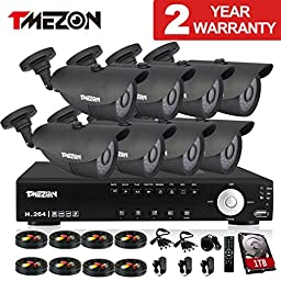 TMEZON NEW 16CH 1080N AHD Video DVR Security System 8 AHD 720P 130ft Super Night Vision 42 IR LEDs Indoor/Outdoor Security Camera Transmit Range P2P/QR Code with 1TB HDD