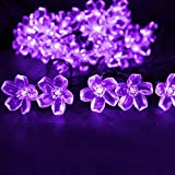 LE® Solar Flower Fairy String Lights 50 LEDs 23ft - Waterproof - Purple Violet - Portable - Blossom Fairy Christmas Lights with Light Sensor - Outdoor and Indoor Use - Ideal for Wedding - Party - Halloween Lights Decoration